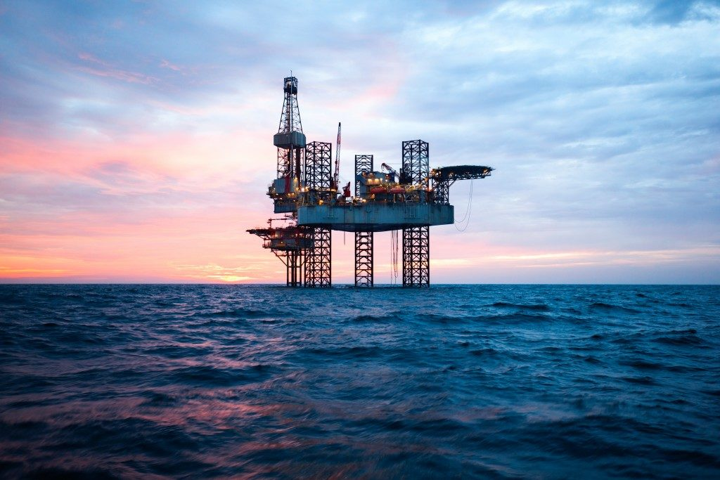 Oil rig out in the open sea