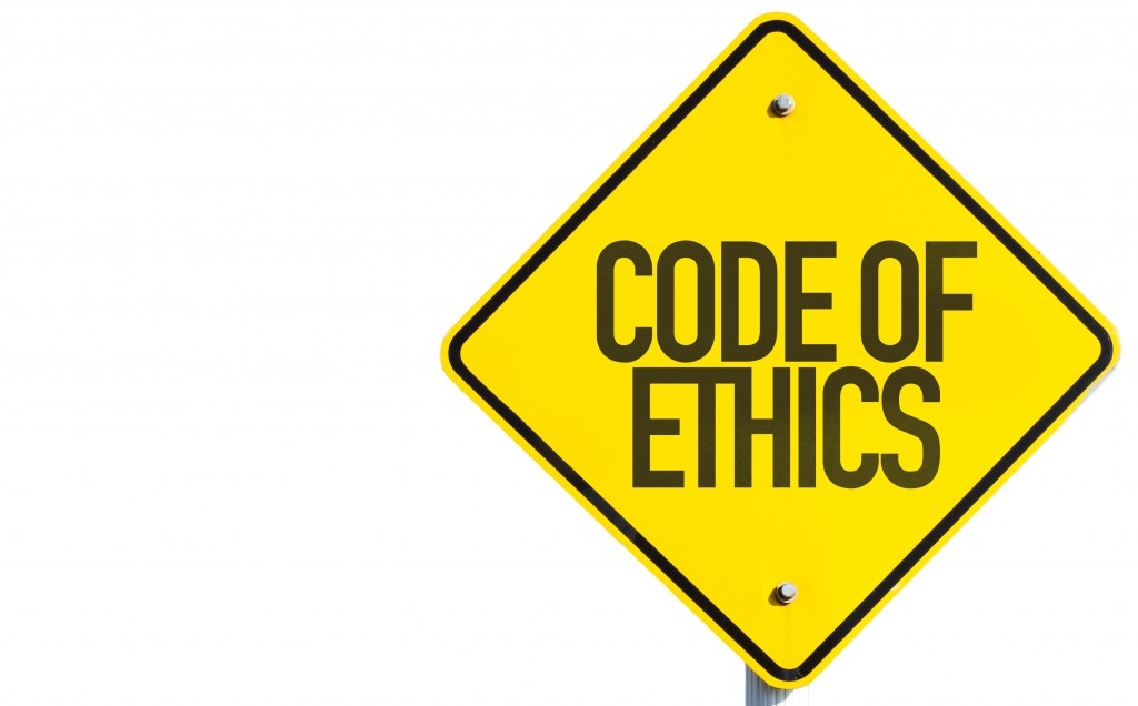 Code of Ethics on a signboard