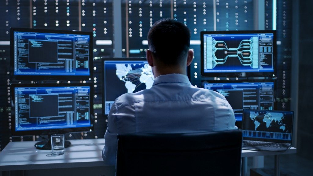 IT specialist working on cybersecurity