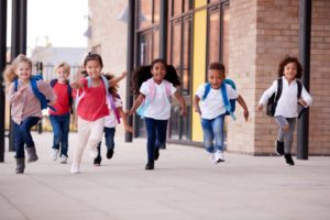 children leaving school