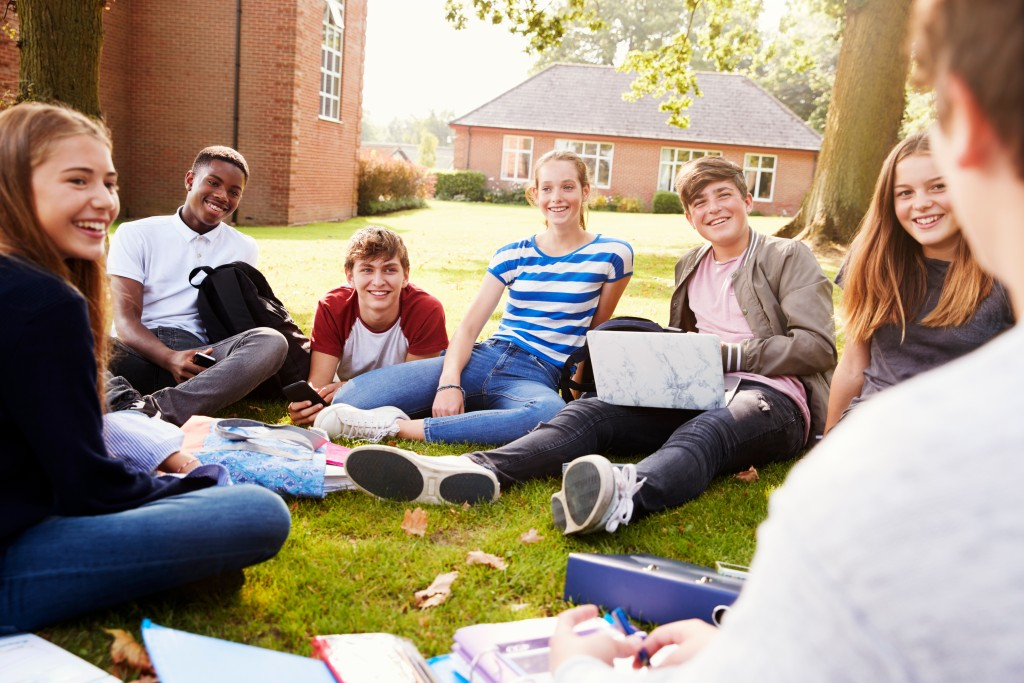 group of students during outdoor class