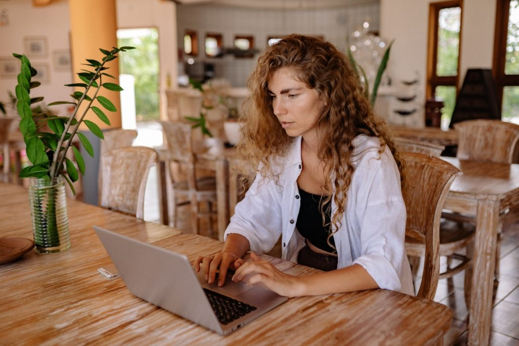 woman using her computer