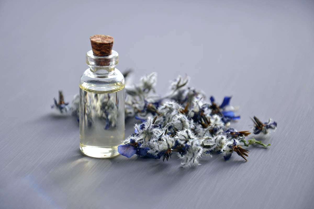 perfume with flowers and herbs