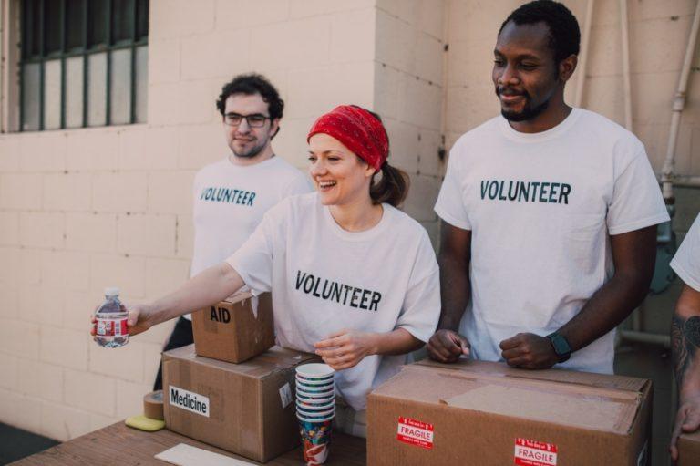 volunteers doing work