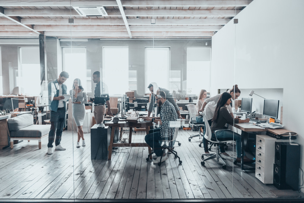 busy office employees
