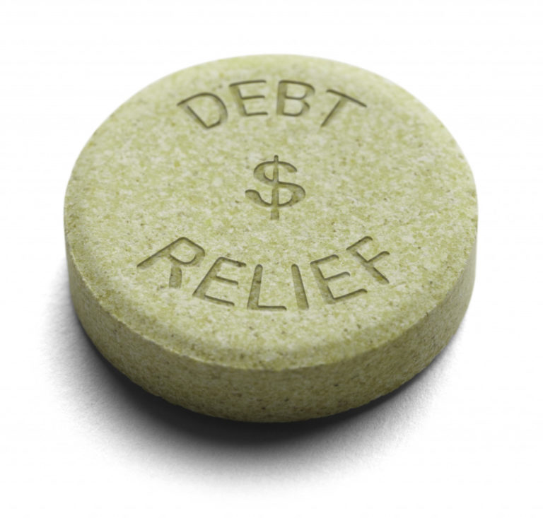 a rock with the words debt relief written on it